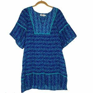 Vineyard Vines Blue Green Print Beach Dress cover